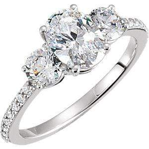 Oval Moissanite 3 Stone Accented Shank Engagement Ring