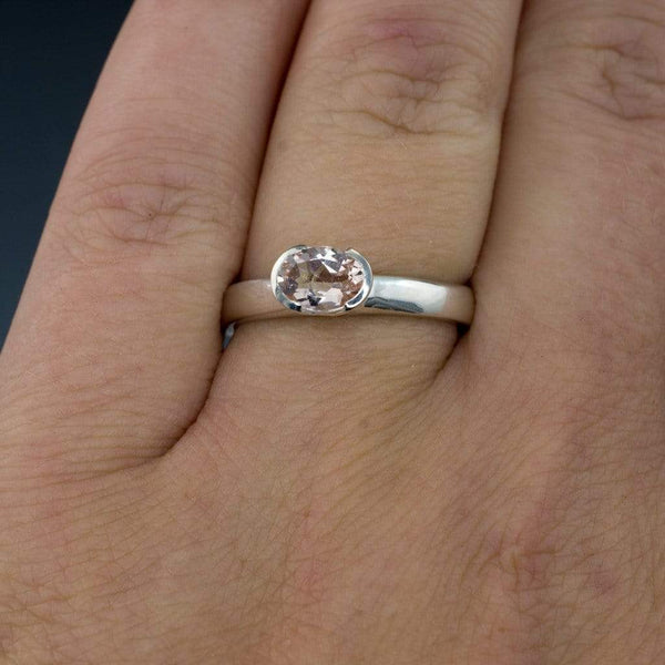 Oval Morganite Half Bezel Solitaire Engagement Ring - by Nodeform