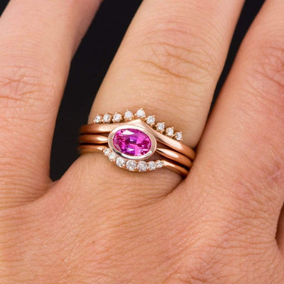 Valerie Band - V-Shape Contoured Accented Diamond, Moissanite, Ruby or Sapphire Wedding Ring