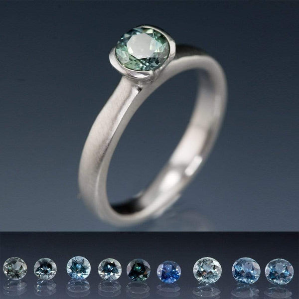Round Fair Trade Blue / Green Malawi Sapphire Half Bezel Solitaire Engagement Ring - by Nodeform
