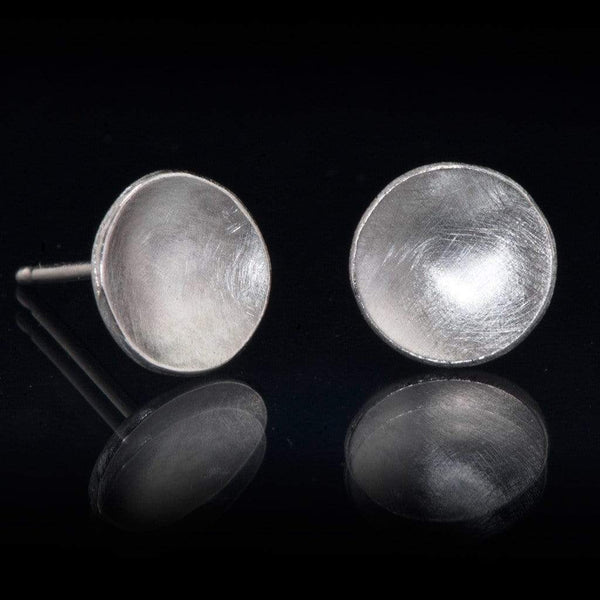 Concave Round Simple Brushed Studs Earrings - by Nodeform