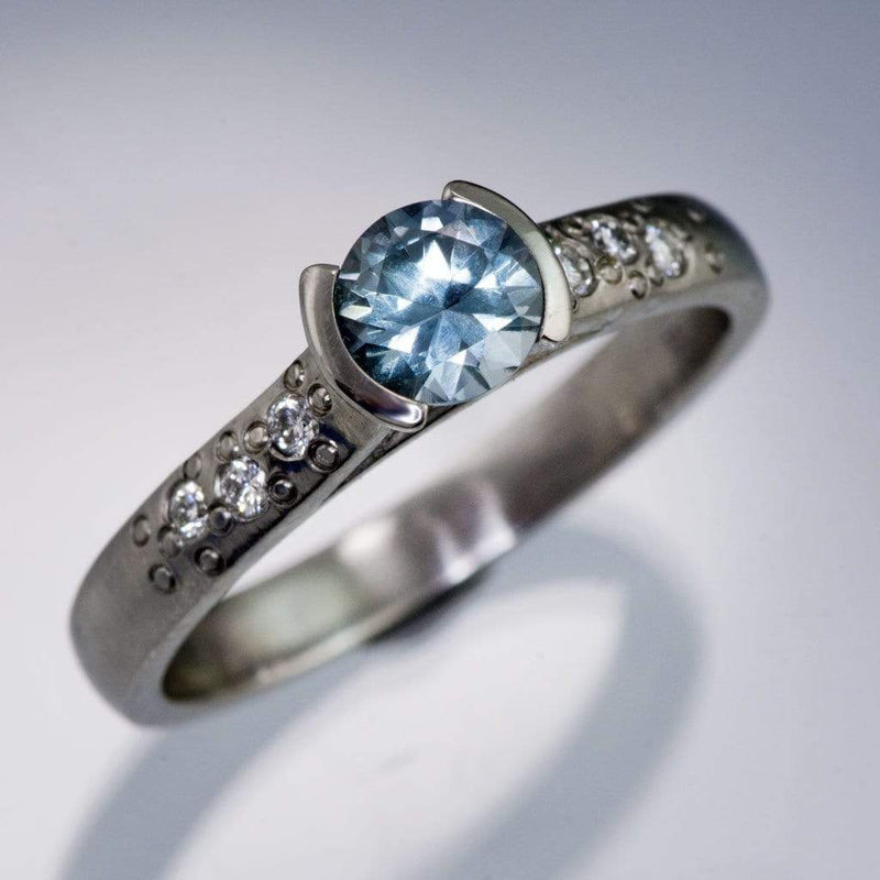 Pastel Light Blue Fair Trade Montana Sapphire Half Bezel Diamond Star Dust Engagement Ring