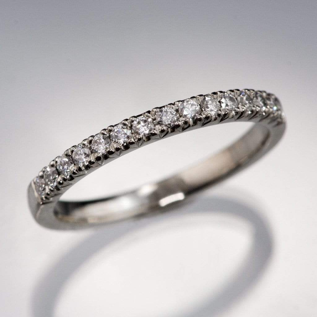 Diamond Pave Fish Tail Set Ring Stacking Wedding Band