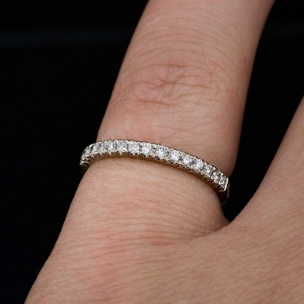 platinum white pav french bands in gold melee diamond pave eternity wb round band wedding