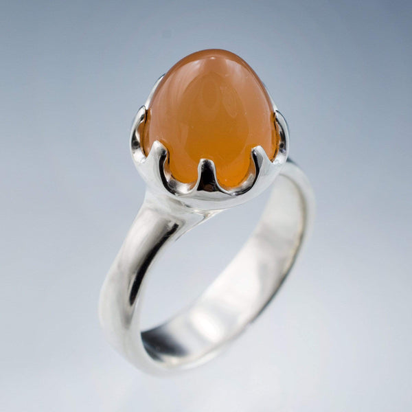 Peach Moonestone Crown Statement Ring, Bullet Moonstone Cabochon