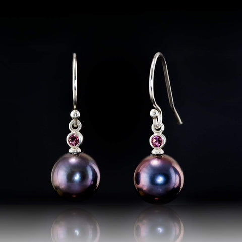 Peackock Pearls and Pink Tourmaline Sterling Silver Dangle Earrings, Ready to Ship