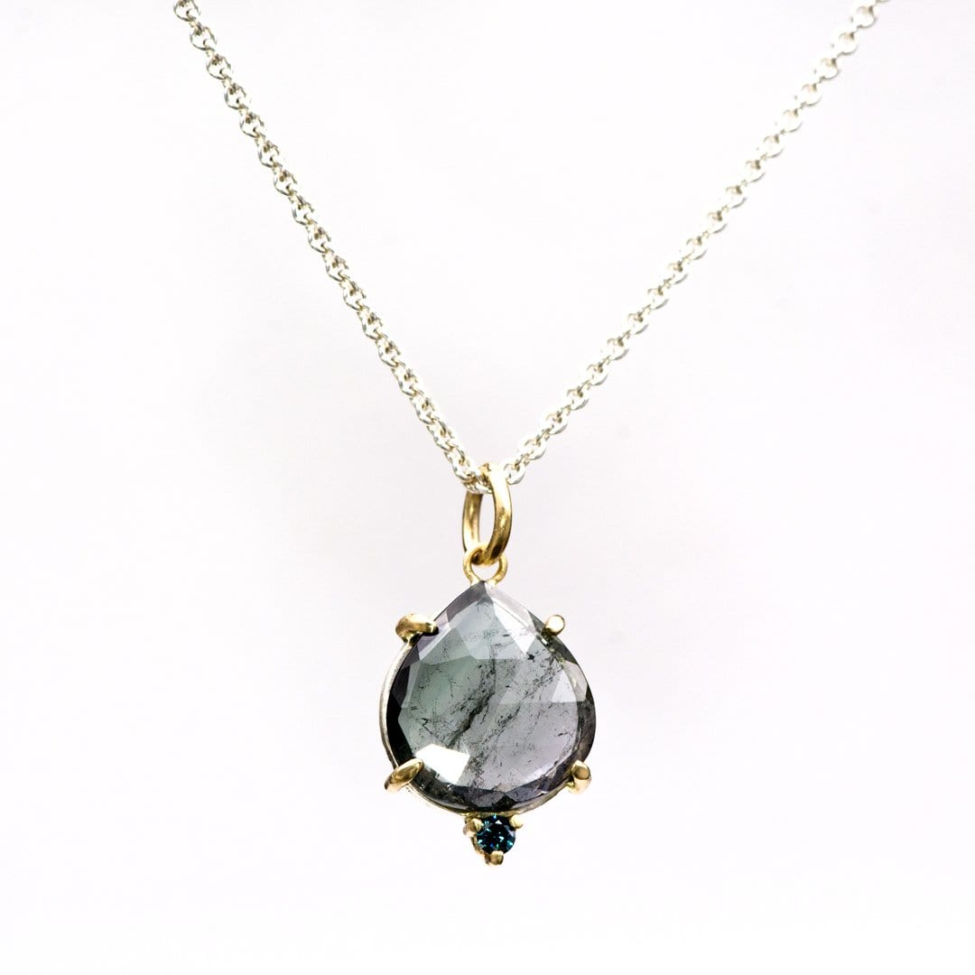 Pear Rose Cut Blueish-Gray Tourmaline & Teal Diamond Pendant Necklace, Ready to ship