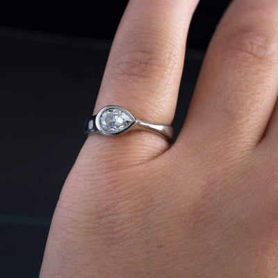 Custom Order Pear Cut 0.51ct Diamond Bezel Set Solitaire Engagement Ring