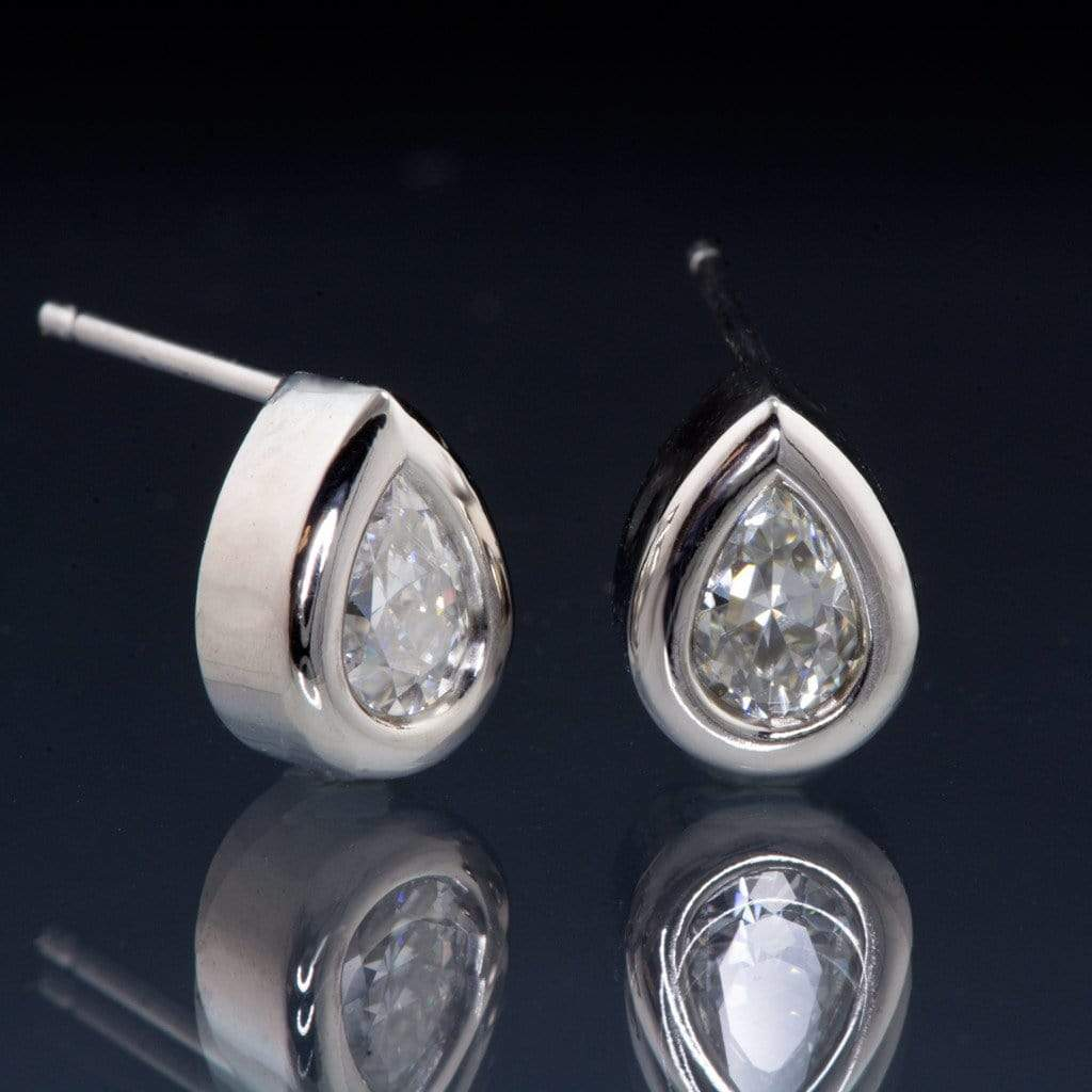 Pear Moissanite Bezel Set Palladium Stud Earrings, Ready To Ship - by Nodeform