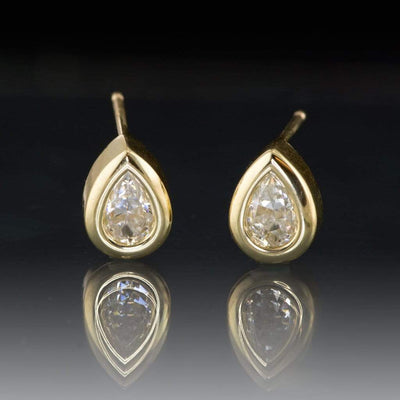 Pear Moissanite Bezel Stud Earrings