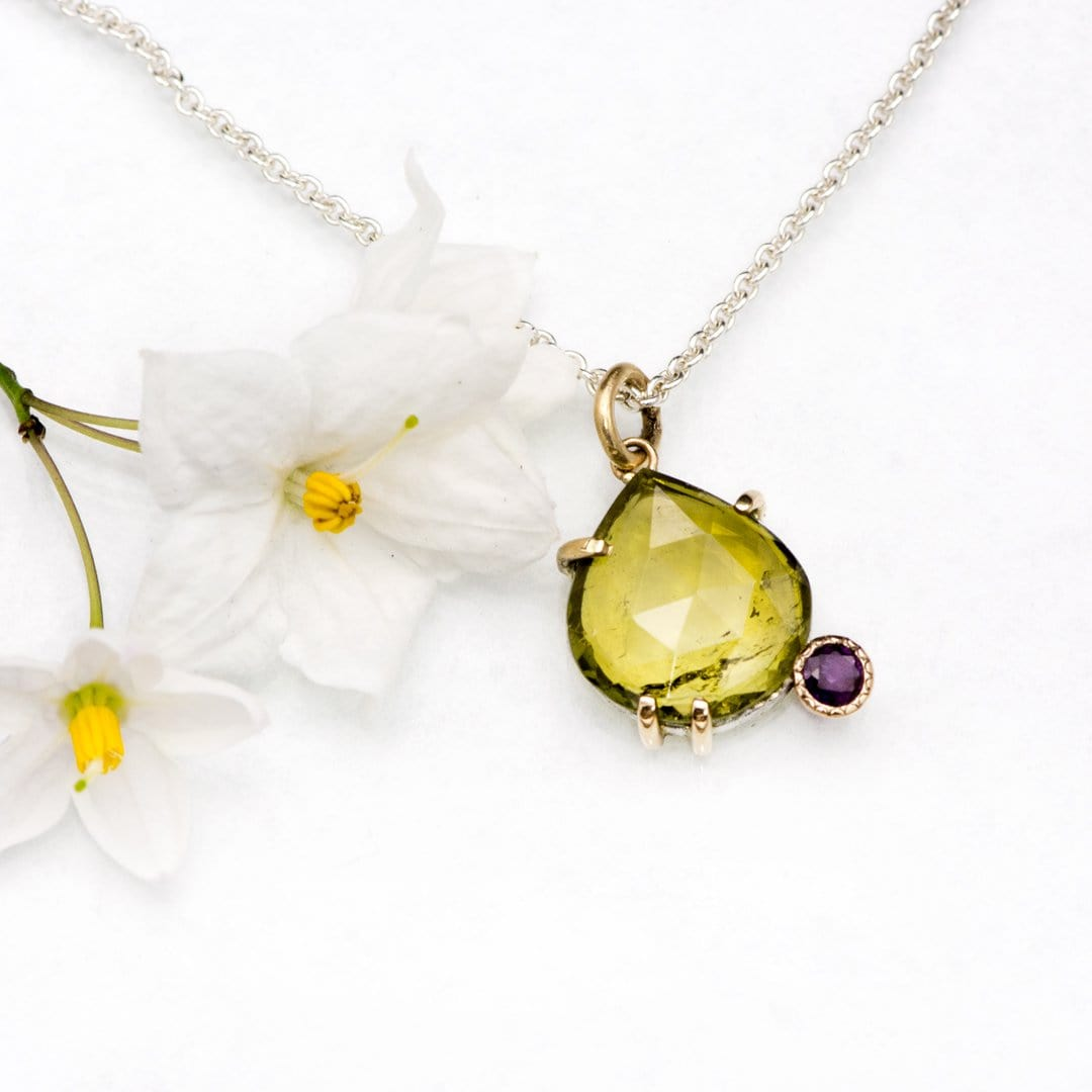 Pear Rose Cut Olive Green Tourmaline & Purple Sapphire Diamond Pendant Necklace, Ready to ship