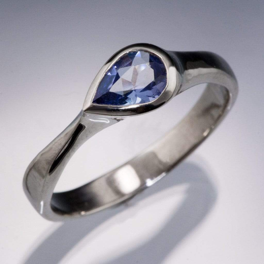 Pear Tanzanite Bezel Tear Drop Solitaire Engagement Ring
