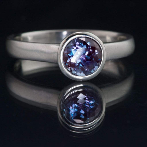 Chatham Alexandrite Peekaboo Bezel Engagement Ring - by Nodeform
