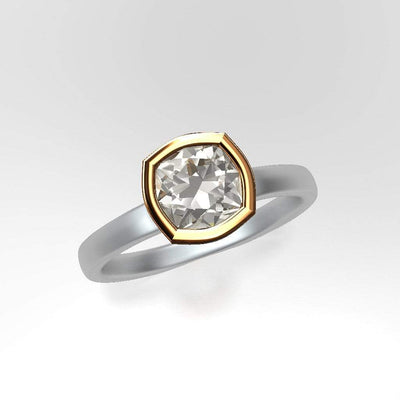 Mixed Metal Elevated Bezel Cushion Moissanite Solitaire Engagement Ring