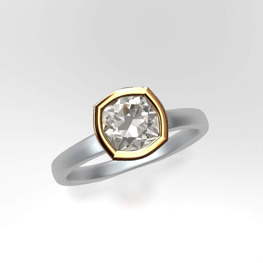 Mixed Metal Elevated Bezel Cushion Moissanite Engagement Ring