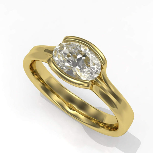 oval moissanite Fold solitaire engagement ring in yellow gold