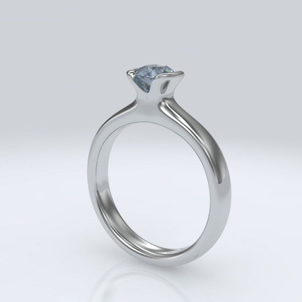 Round Aquamarine Half Bezel Solitaire Engagement Ring