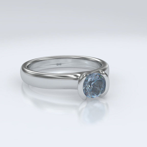 Round Aquamarine Half Bezel Solitaire Engagement Ring - by Nodeform