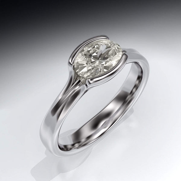 oval moissanite Fold solitaire engagement ring in platinum