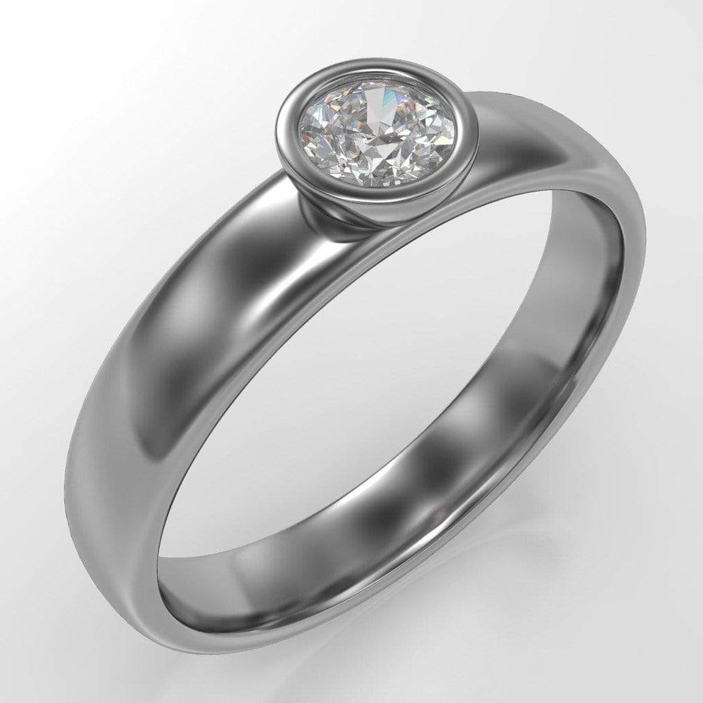 diamond modern low profile bezel set engagement ring