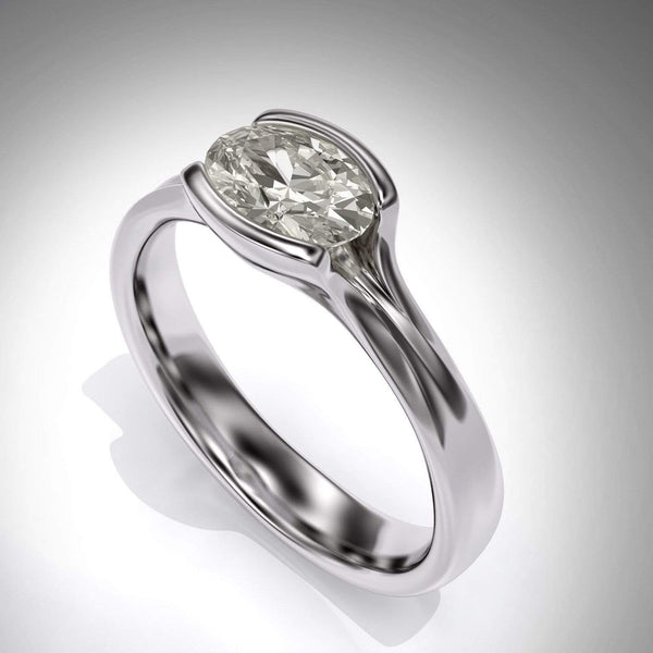 oval moissanite Fold solitaire engagement ring in palladium