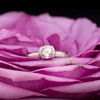 Light Pink Spinel Half Bezel Solitaire Engagement Ring in Continuum Sterling Silver, size 4 to 9