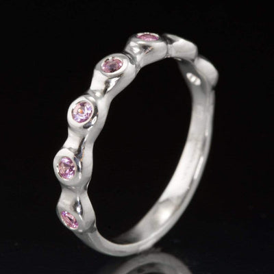 Pink Sapphire Half Eternity Engagement Ring or Wedding Ring