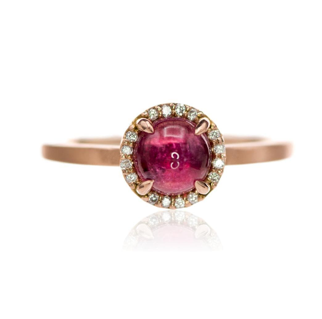 Pink Tourmaline & White Diamond Halo Rose Gold Cocktail Ring, size 4 to 9