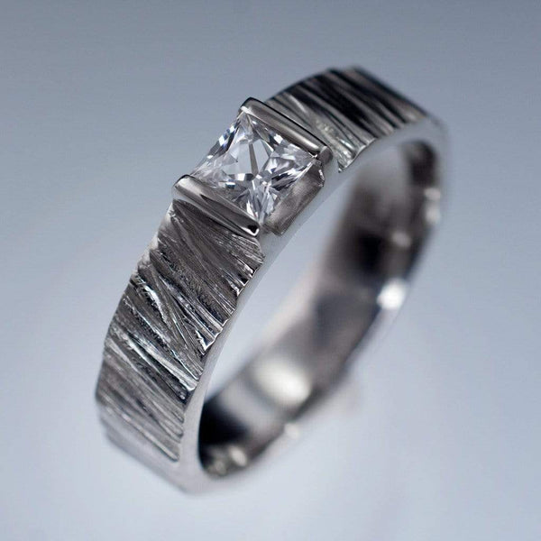 Princess White Sapphire Saw Cut Textured Modern Wedding or Engagement Ring
