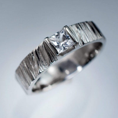 Princess White Sapphire Saw Cut Textured Modern Wedding or Solitaire Engagement Ring