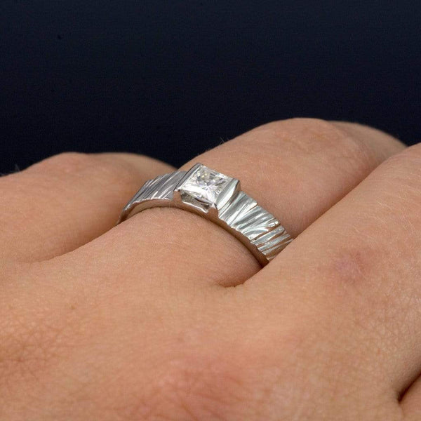 Princess Moissanite Saw Cut Textured Modern Wedding or Engagement Ring - by Nodeform