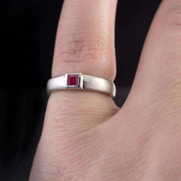 Princess Cut Ruby Modern Bezel Set Wedding Ring