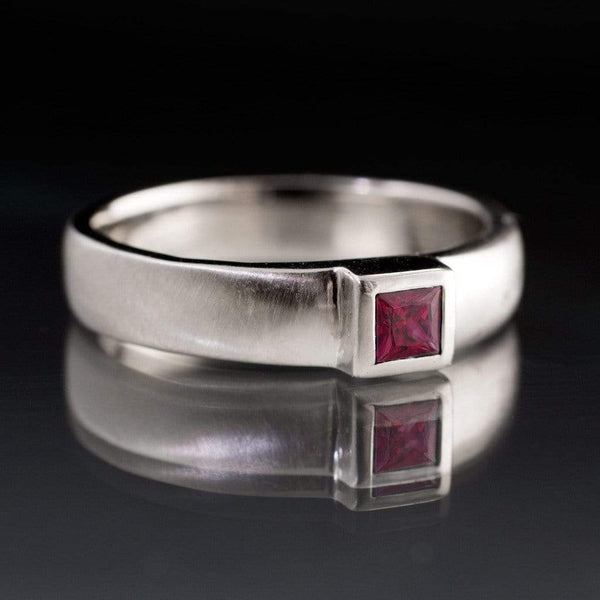 Princess Cut Ruby Modern Bezel Set Wedding Ring - by Nodeform