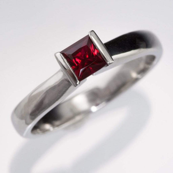 Chatham Princess Cut Chatham Ruby Modified Tension Solitaire Engagement Ring, Ready to Ship Size 5 to 7.5