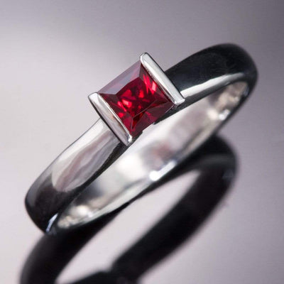 Princess Cut Ruby Modified Tension Solitaire Engagement Ring - by Nodeform