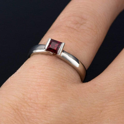 Princess Cut Ruby Modified Tension Solitaire Engagement Ring