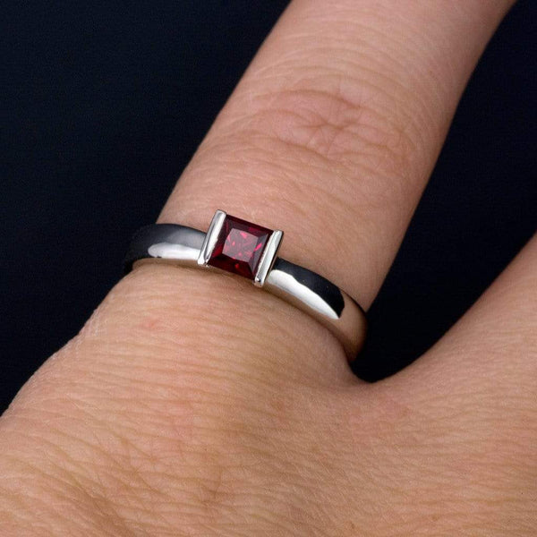 Chatham Princess Cut Chatham Ruby Modified Tension Solitaire Engagement Ring, Ready to Ship Size 5 to 7.5 - by Nodeform