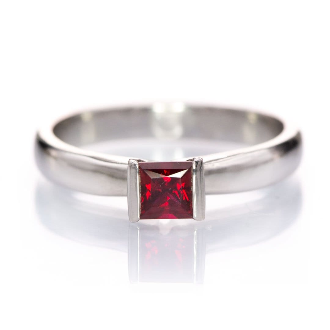 Chatham Princess Chatham Ruby Modified Tension Solitaire Engagement Ring, Ready to Size 5 - 7.5