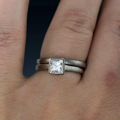 Princess Cut Bezel Set White Sapphire Bridal Ring Set Engagement Ring