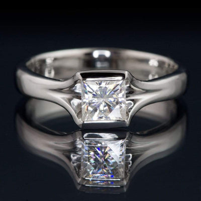 Princess Square Brilliant Moissanite Fold Semi-Bezel Set Solitaire Engagement Ring