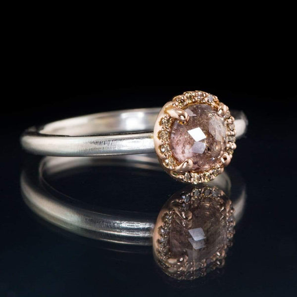 Mixed Metal Rose Cut Sapphire & Champagne Diamond Rose Gold Halo Engagement Ring, size 4 to 9