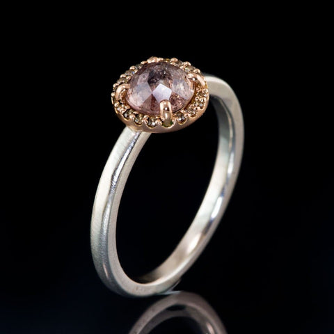 Mixed Metal Round Rose Cut Sapphire & Champagne Diamond Rose Gold Halo Engagement Ring, Ready to size 4 to 9