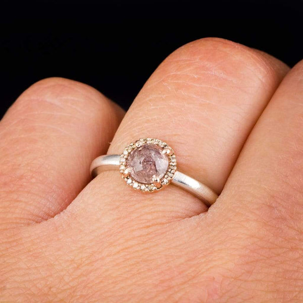 Mixed Metal Rose Cut Sapphire & Champagne Diamond Rose Gold Halo Engagement Ring, size 4 to 9 - by Nodeform