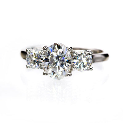 Oval Moissanite 3 Stone Prong Set Engagement Ring