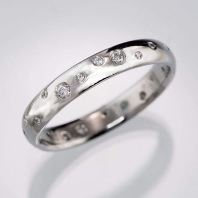 Stella Band - Random Scattered Diamond Narrow Domed Eternity Wedding Band, 3-4mm Width