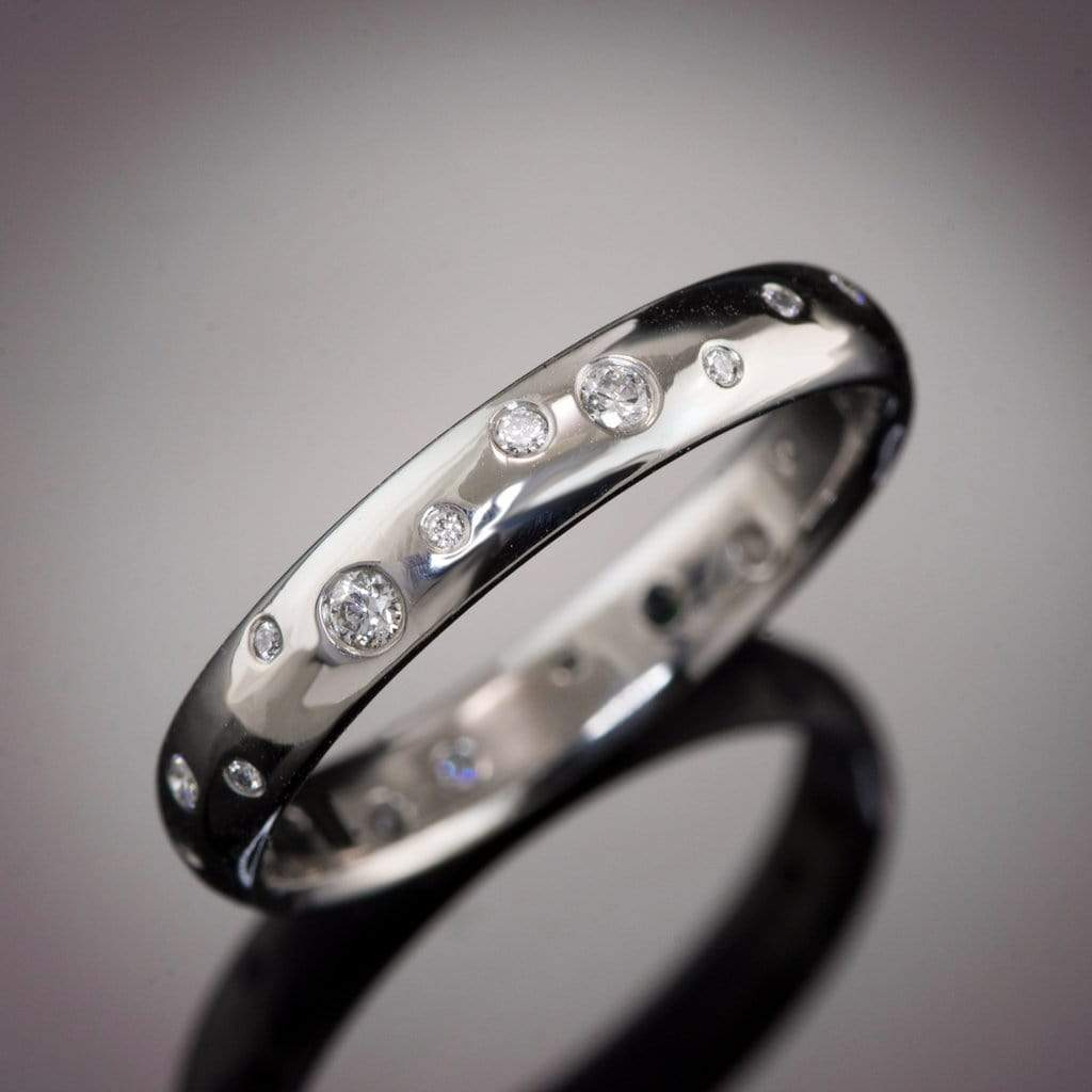 Stella Band - Random Scattered Diamond Narrow Domed Eternity Wedding Band