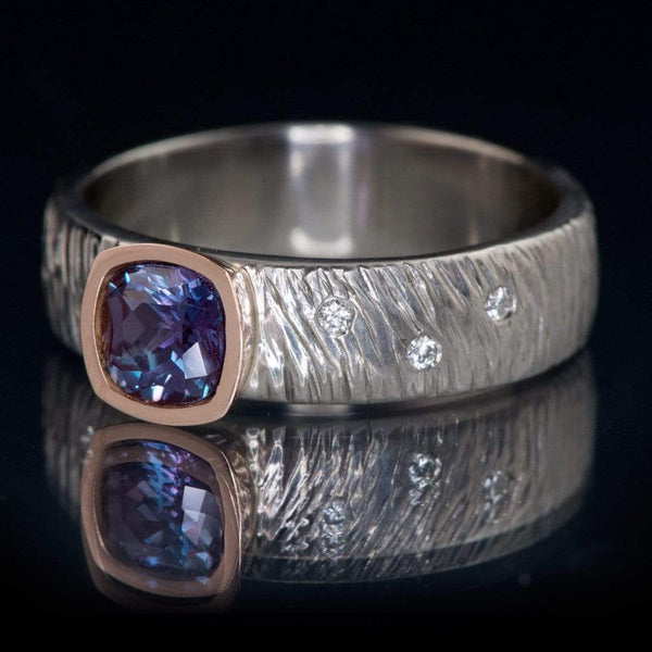 Textured Rasp Engagement Ring with Cushion Cut Chatham Alexandrite & Diamonds Accents - by Nodeform