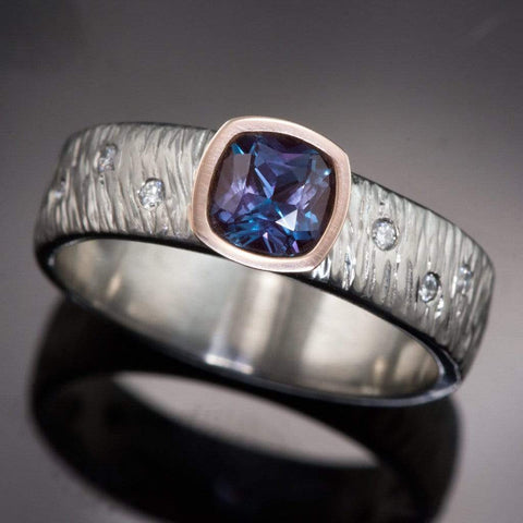 Textured Rasp Engagement Ring with Cushion Cut Chatham Alexandrite & Diamonds Accents