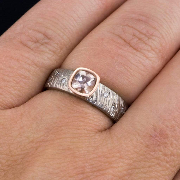 Textured Engagement Ring with Cushion Cut Morganite & Diamonds Accents