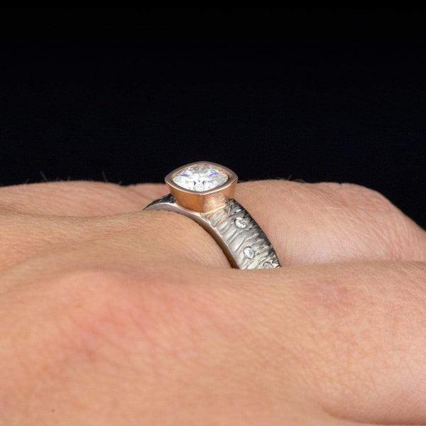 Textured Rasp Engagement Ring with Cushion Cut Moissanite & Diamonds Accents - by Nodeform